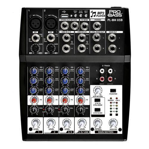Mesa de Som Analógica 8 Entradas Pl 804 USB - Pro Bass