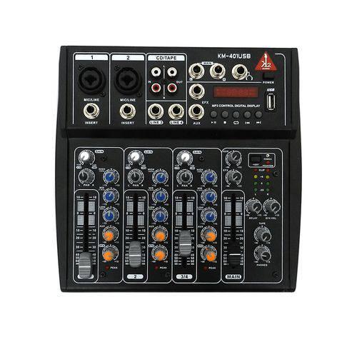 Mesa de Som K2 Audio 4 Canais Km-401 USB Preto