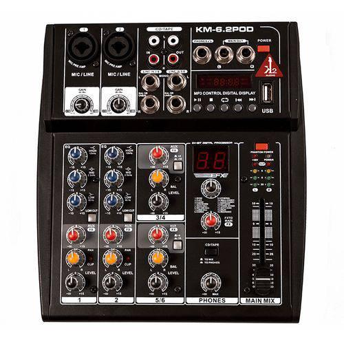 Mesa de Som K2 Audio 6 Canais com USB e Interface Preto
