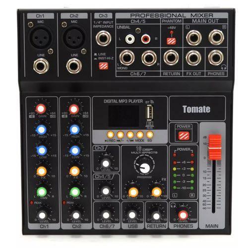 Mesa de Som para Dj com 7 Canais 16 Efeitos Inclusos, Usb, Mp3 e Display Digital