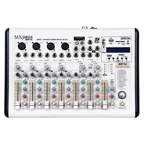 Mesa de Som Staner MX0804 EFX C/ Efeitos e Usb P/ Gravação