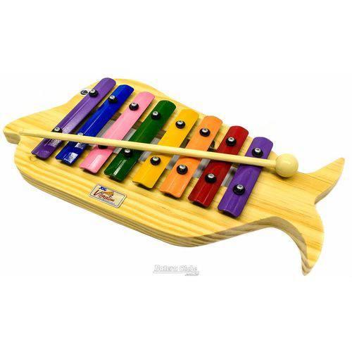 Metalofone Jog Vibratom Peixe P2234 com 8 Teclas Coloridas e Baqueta (musicalização Infantil) 15124