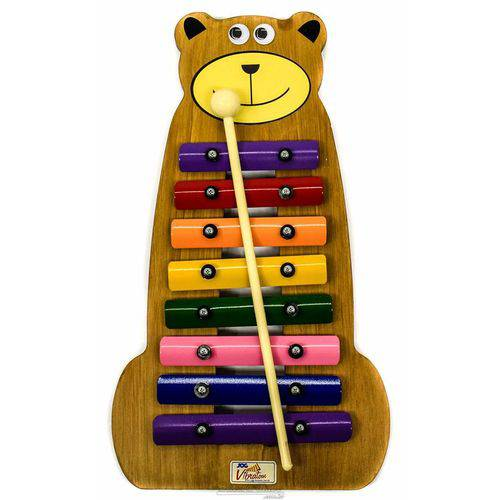 Metalofone Jog Vibratom Urso P2236 com 8 Teclas Coloridas e Baqueta (musicalização Infantil) 16423