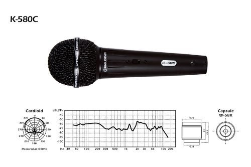 Microfone com Fio Dinamico K580c Waldman