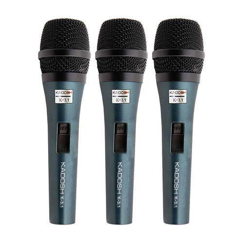 Microfone com Fio Kadosh K3.1 Kit com 3 Pcs