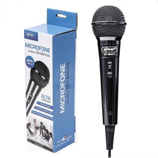 Microfone com Fio para Karaokê Palestras Gravações Knup KP-M0011 Dinâmico Novo Original
