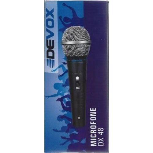 Microfone com Fio Profissional de Mão Dinâmico DX 48 Devox com Cabo de 5 Metros