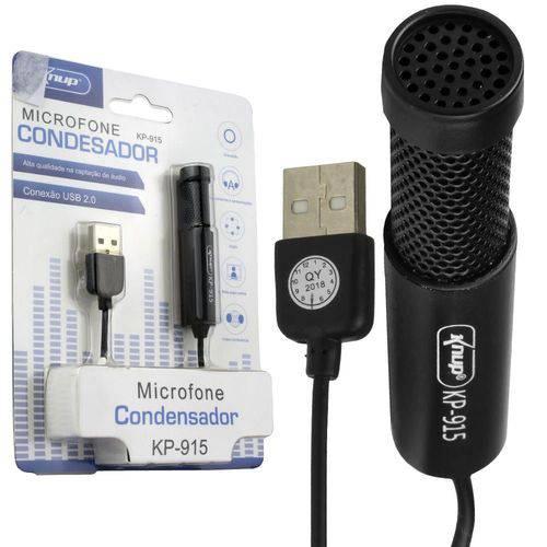 Microfone Condensador para Gravacao no Pc Mesa Knup Kp-915 Kp-915 Generico