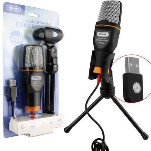 Microfone Condensador USB para Vídeo Youtube e Mesa Gravação Kp-916