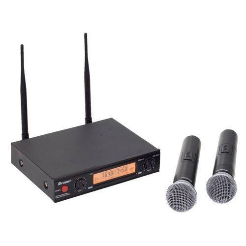 Microfone de Mão Duplo Dreamer Sem Fio, Sn-8002 Uhf - com Case