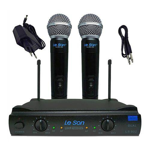 Microfone de Mão Duplo Sem Fio Leson Ls 902 Dinamico