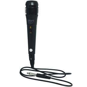 Microfone Dinâmico com Fio P10 Cabo 1 Metro para Karaokê e Caixa de Som Knup KP-M0001 Preto