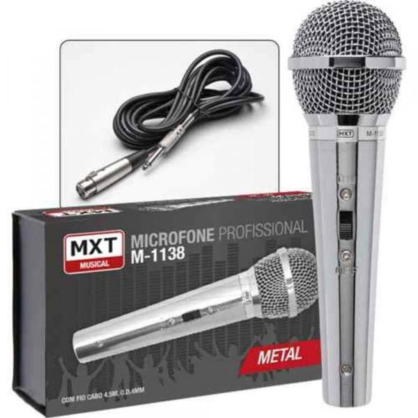 Microfone Dinâmico de Mão Profissional Metal Prata MXT M-1138 com Cabo 4,5 Metros