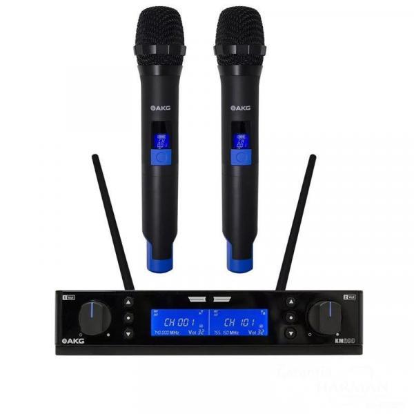 Microfone Duplo de Mão Sem Fio Akg Km 200 Uhf Vocal