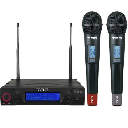 Microfone Duplo Tagima Tag Sound Tg-8802 Sem Fio Uhf