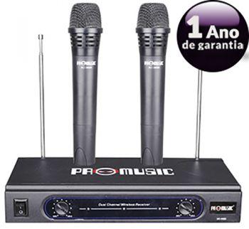 Microfone Duplo Vhf Sem Fio Profissional Promusic Ate 46mts - 055-3688 - Chip Sce