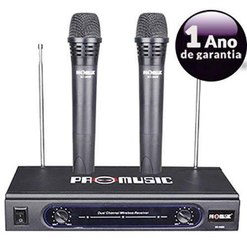 Microfone Duplo Vhf Sem Fio Profissional Promusic Até 46mts - 055-3688