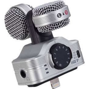 Microfone Estéreo Zoom IQ7 Profissional para IPhone 5/iPhone 6 e IPads - Prata