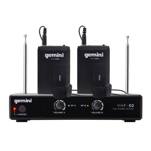 Microfone Headset e Lapela Duplo Sem Fio Gemini VHF02HL
