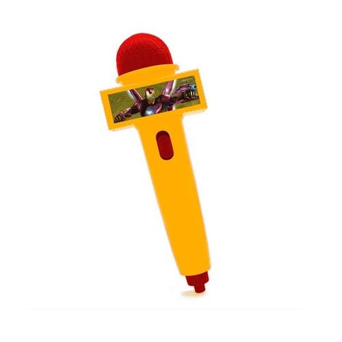 Microfone Homem de Ferro Amarelo com Luz Toyng