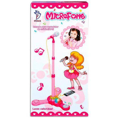 Microfone Karaokê com Pedestal - Fênix Rosa
