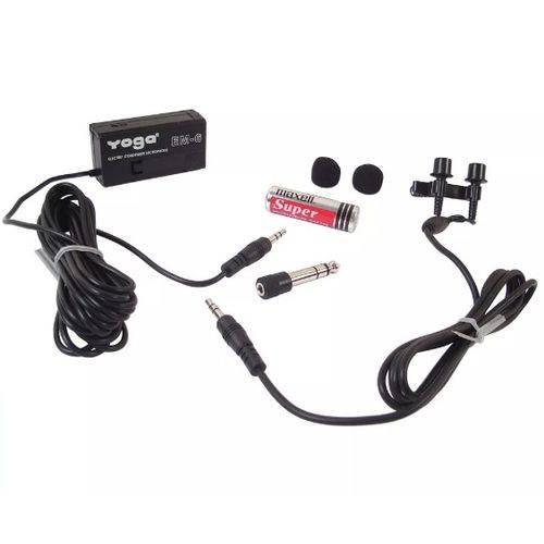 Microfone Lapela Em-6 Stereo Profissional Yoga Em6