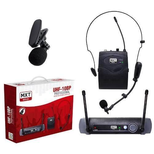Microfone Lapela Sem Fio Headset MXT Uhf-10bp Profissional