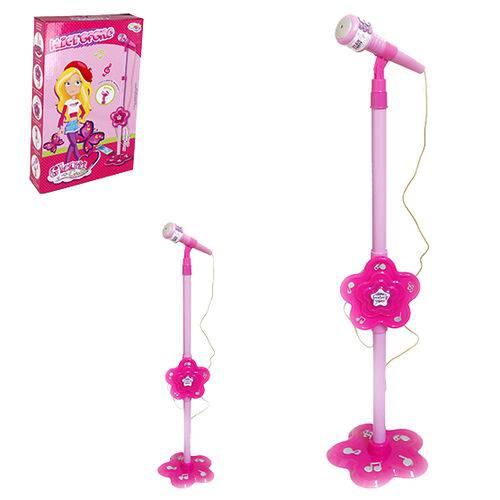 Microfone Musical Infantil com Pedestal Glam Girls 106cm a Pilha na Caixa Wellkids