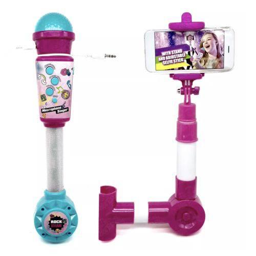 Microfone Musical Infantil de Brinquedo com Entrada Smartphone e Pau de Selfie - BBR TOYS