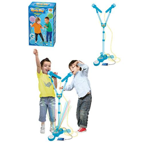 Microfone Musical Infantil Duplo com Pedestal Rock Boy 120cm com Luz a Pilha na Caixa
