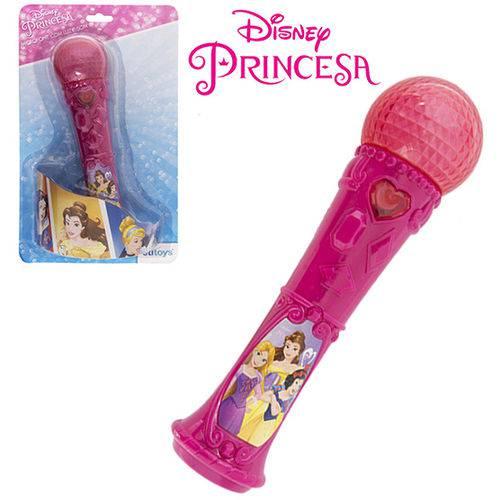 Microfone Musical Infantil Princesas com Luz a Pilha na Cartela