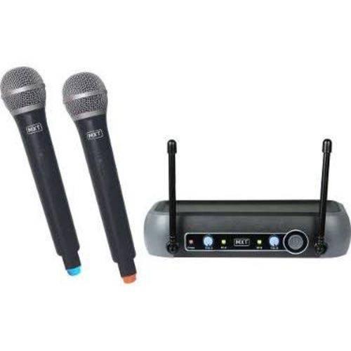 Microfone Mxt Uhf202mm 1 Frequência Sem Fio Mão Duplo 2 Antenas