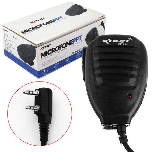 Microfone Ppt para Rádio Comunicador 50mw