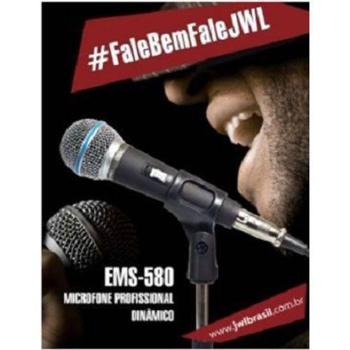 Microfone Profissional Dinâmico Ems-580 Jwl