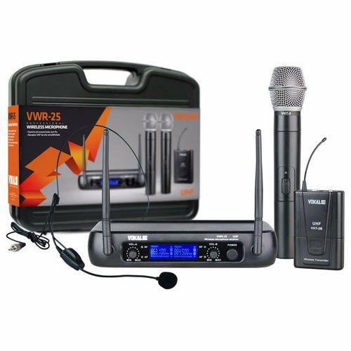 Microfone S/ Fio Mão Vokal VWR 25 + Headset