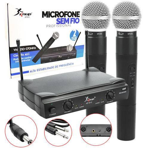 Microfone Sem Fio 30m Duplo Wireless Vhf Karaokê Kp-912