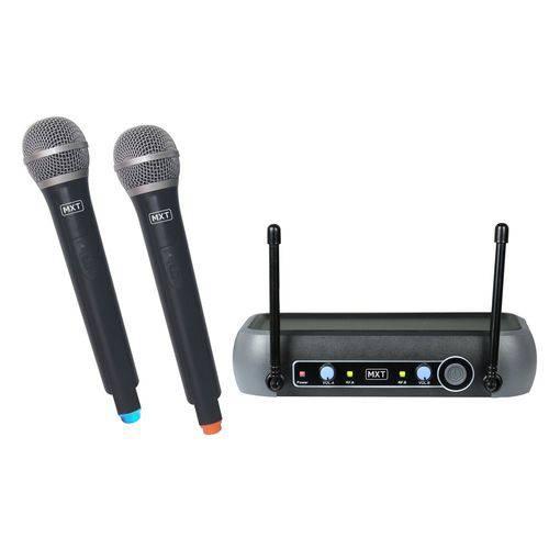 Microfone Sem Fio de Mao Profissional Duplo Uhf 202