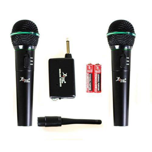 Microfone Sem Fio de Mão Profissional Uhf + Pilhas -kit C/ 2