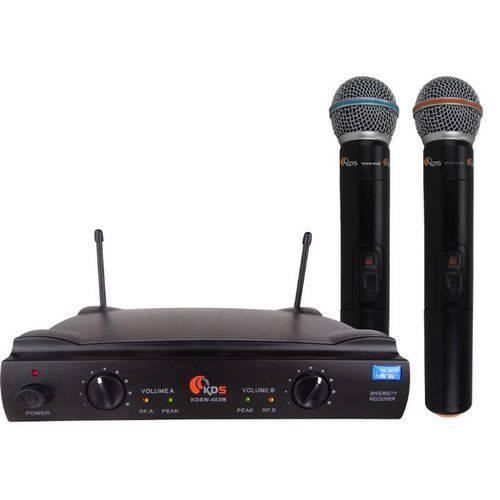 Microfone Sem Fio Duplo de Mão Uhf Kadosh Kdsw-402 Mm