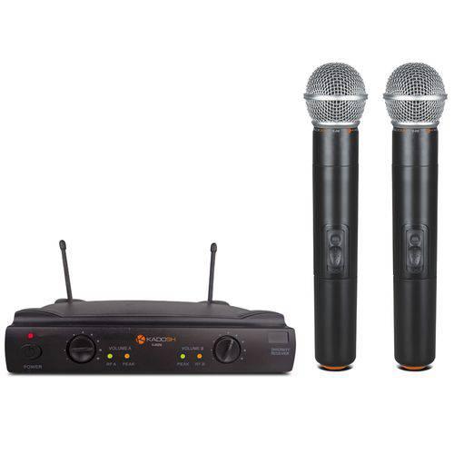 Microfone Sem Fio Duplo de Mão UHF Profissional Kadosh KDS 402 M
