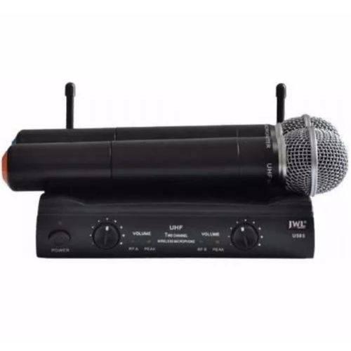Microfone Sem Fio Duplo Mao Uhf Jwl Profissional U-585