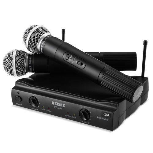 Microfone Sem Fio Duplo Profissional Wireless Karaoke Igreja