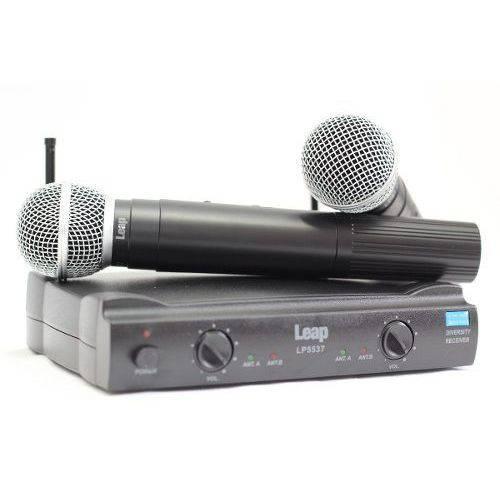 Microfone Sem Fio Duplo Uhf Leap Lp 5537 Bivolt