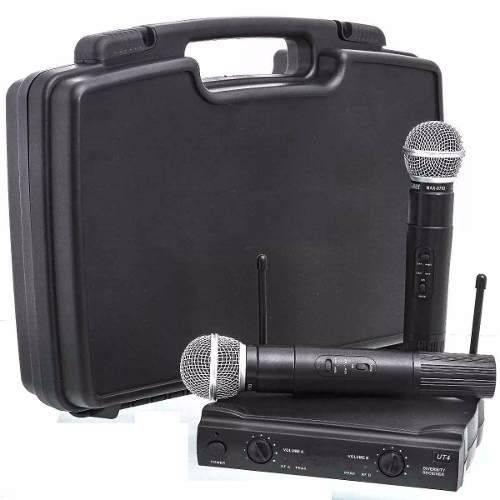 Microfone Sem Fio Duplo Uhf Wireless Profissional com Maleta