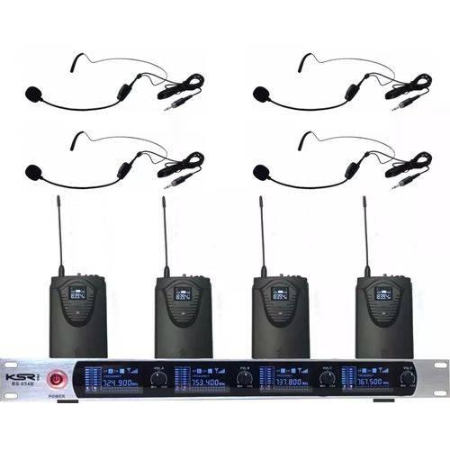 Microfone Sem Fio Ksr Headset Quadruplo Auricular