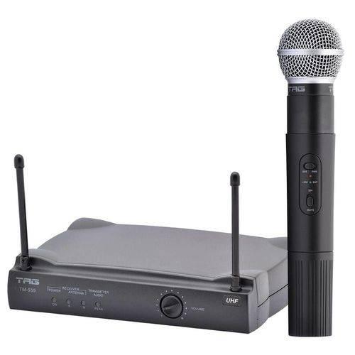 Microfone Sem Fio Preto Tagsound Tm559 Estojo Cabo Adapt Recept Metalic Orange Bat Antena