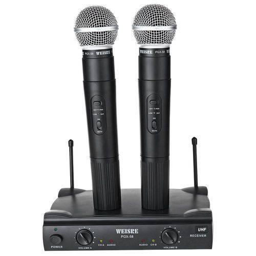 Microfone Sem Fio Profissional Duplo Weisre Pgx-58 Uhf
