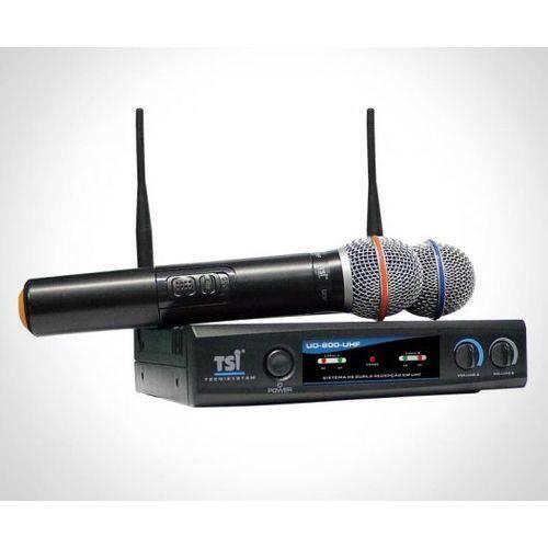Microfone Sem Fio Tsi Duplo Mao Uhf Ud800