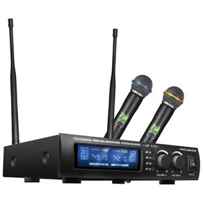 Microfone Sem Fio Uhf Duplo de Mão Uf-112