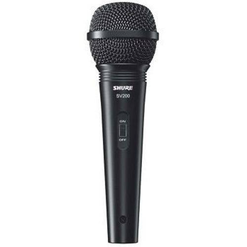 Microfone Shure Dinâmico Unidirecional SV200 com Chave Liga/desliga e Cabo XLR/XLR